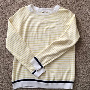 Gap striped yellow and white with blue sweater